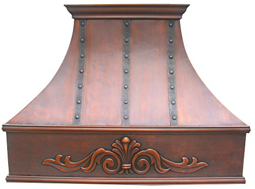 Jefferson Wall Mount - Copper Oven Hood Cover with High CFM Commercial Grade Range Hood Insert, Inlcudes Fan Motor, Blower Box, Baffle Filter and Lighting, Smooth Texture with Hand Embossed Apron Design Wall Mount 42 x 42in