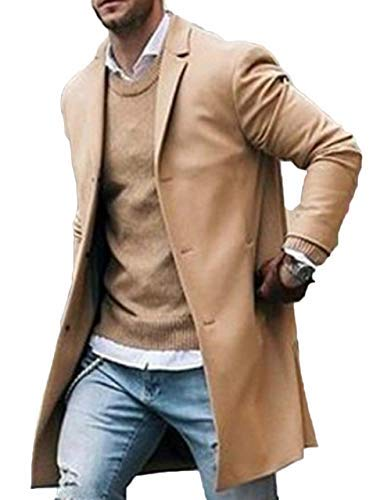 Canrulo Men Trench Coat Wool Slim Fit Notched Collar Overcoat Single Breasted Long Pea Coat Jacket (Asian Tag 2XL=US-L, Khaki)