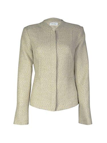 Calvin Klein Women's Zip Front Boucle Blazer (14P, Khaki)