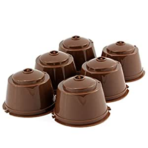Dolce Gusto Compatible Reusable Coffee Capsules, Eco-Friendly Single Serve Coffee Filters, Refillable Pods Compatible with Nescafe Dolce Gusto Brewers (6 Pack)