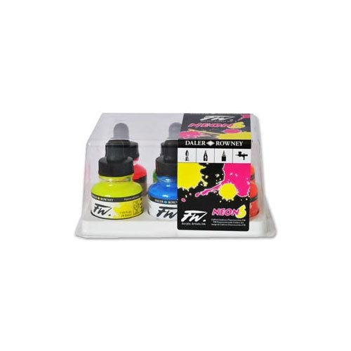 Daler-Rowney FW Fluorescent Acrylic Ink, Set of 6 Neon Colors (160329006) by Daler Rowney