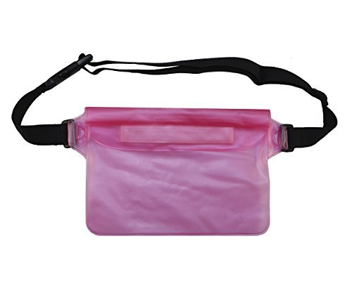 Lilware Waterproof Mini Bag. Lightweight Carrying Case With Triple Layer Protection and Waist Strap. Pink / Semi-transparent - Waterproof Case Weight Canon