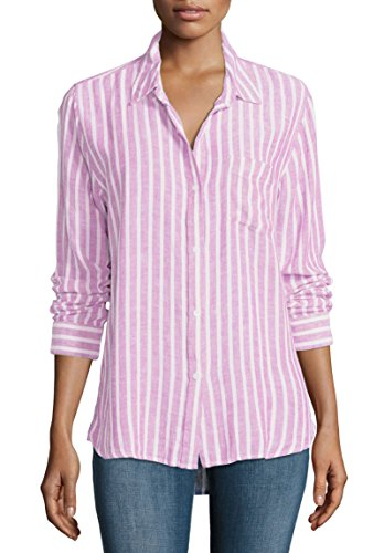 [CAMIXA Women's Striped Linen Casual Button-down Long Sleeve Shirt pocket S Pink] (Pink Stripe Shirt)