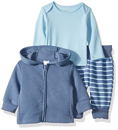 (Hanes Ultimate Baby Flexy Jogger with Long Sleeve Crew and Fleece Hoodie, Blue Stripe, 0-6 Months)