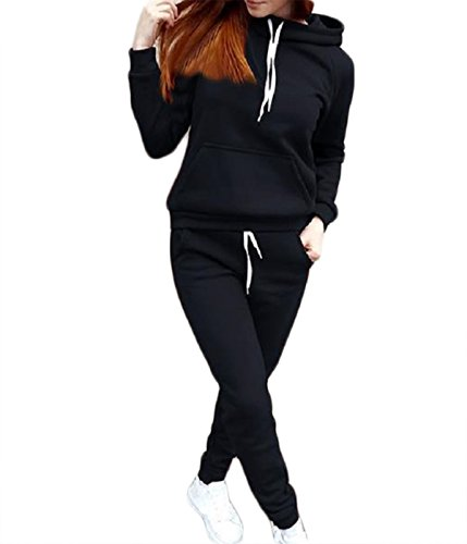 (WEARFITY Women's Long Sleeve Hooded Sweatshirt and Sweatpants Two Piece Outfits Tracksuit (US 6 (M), Black))