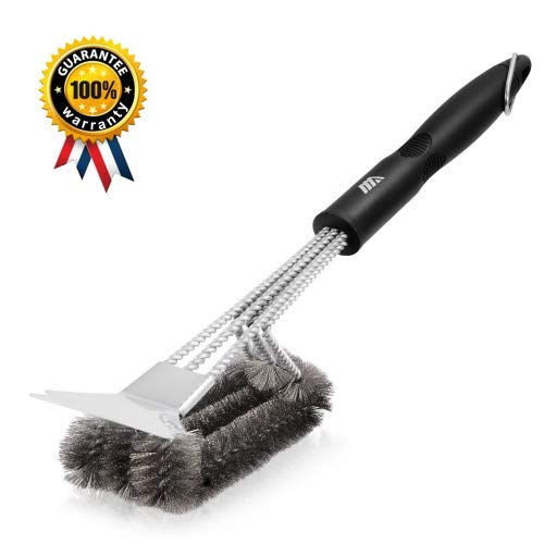 Adoric Life 360° Clean Grill Brush with Scraper, 18 3 in 1 Stainless Steel Barbecue Brush Cleaner with Triple Scrubber and Scraper, Best Accessories for Grill Cooking Grates and Burners