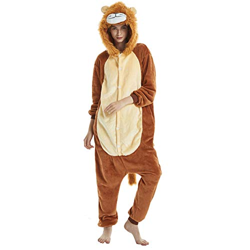 Yimidear Adult Animal Pajamas Costume Lion Onesies Flannel One Piece Cosplay Costume Halloween (L) -