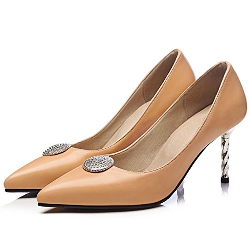 Stilettos High Party Pointed Heels Work Women's apricot Evening Toe DecoStain Dress Pumps Shoes 1HAxfntZHw