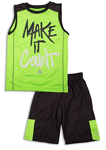 2 Piece Basketball Shorts (RBX Active Boy's 2 Piece Printed Tank Top and Basketball Short Set ,Green/ Grey Combo,Age 4,S)