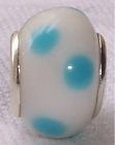 - Glamorise Beads #14269 Blue White Dot Lampwork Murano Glass European Bead for Silver Charm Bracelets