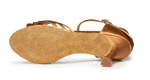 Ballroom Strap Crystal Tango Shoes TDA Women's Dance Satin Salsa Bronze Single Ribbon txw7wqpZ