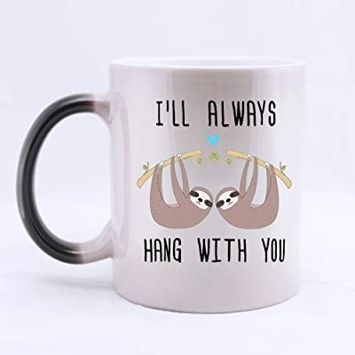 Scsf 11 Ounces Best Friend I'Ll Always Hang With You Coffee Mug Heat Reveal Changing Color Hot Reactive Tea Cup -