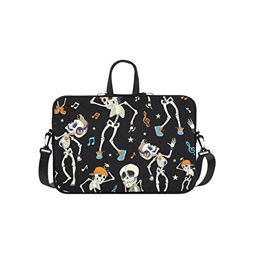 Vector Dancing Skeletons Party Halloween Seamless Pattern Briefcase Laptop Bag Messenger Shoulder Work Bag Crossbody Handbag for Business Travelling