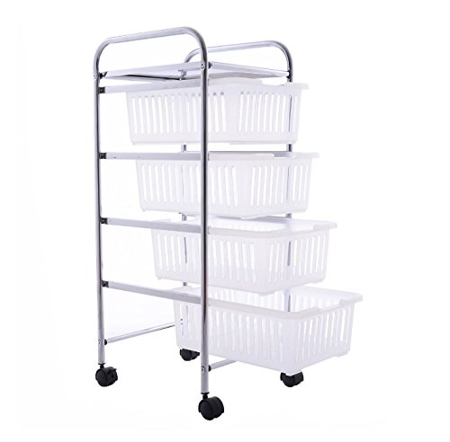 Craft Storage Cart With Wheels - Mobile 4 Drawer Utility Bundle w Multiple Compartments Organizer - 14 Drawer Mobile Organizer