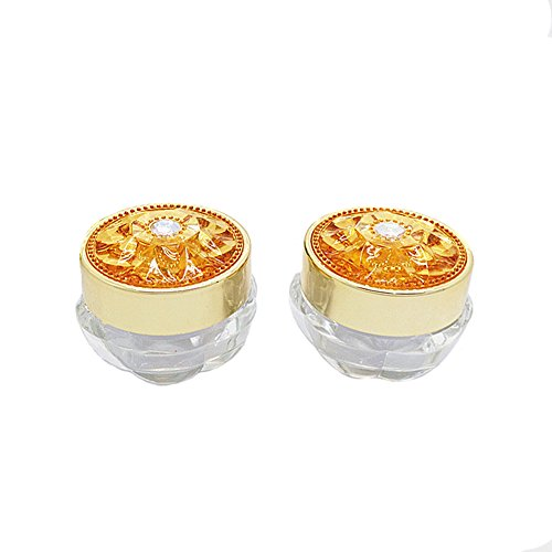 5PCS 5G Empty Refillable Acrylic Circular Bottle Container Jars Lotion Eye Cream Container With Circular Flower Shape Gold Cap and Inner (Acrylic Gold Jars)