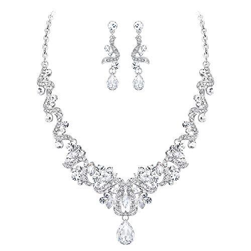 (Flyonce Women's Crystal Wedding Floral Swirl Ribbon Teardrop Necklace Earrings Set Clear Silver-Tone)