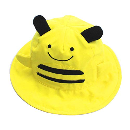 Sun Bucket Hat for Kids Girls Boys Travel Beach 50+ UV Sun Protection Wide Brim Yellow Bee 4-8years