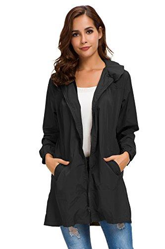 Eymoiy Women Rain Jacket Waterproof Windbreaker with Hood and Zipper Light Weight Multicolor (Lightweight Zipper)