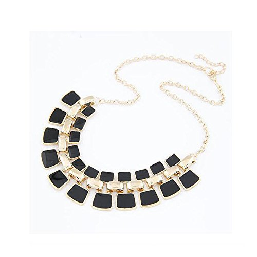 [Women Fashion Crystal Charm Statement Bib Pendant Chain Chunky Choker Necklace, Black] (In Stock Hip Hop Costumes)