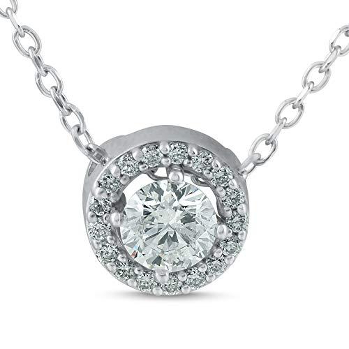 1/3ct Genuine Round Solitaire Halo Diamond Pendant 14k White Gold ()