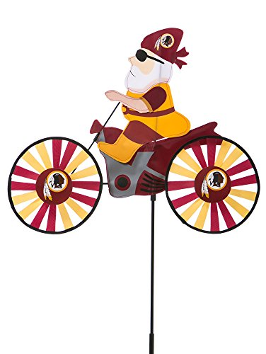 Spinner Cycle (NFL Washington Redskins Motorcycle Riding Garden Gnome Wind Spinner, Small, Multicolored)