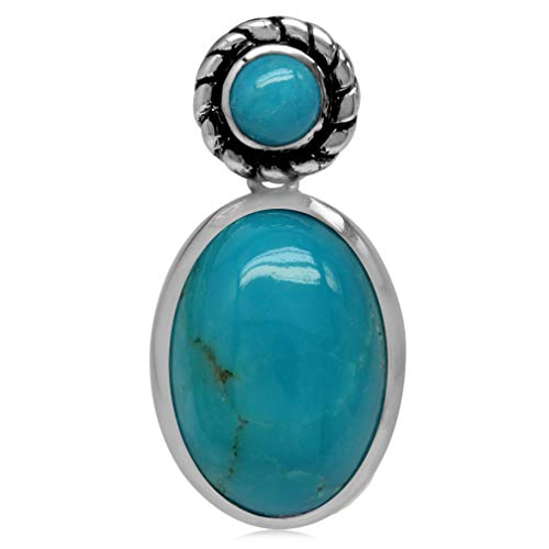 Silvershake 14X10mm Genuine Oval Shape Arizona Turquoise 925 Sterling Silver Rope Pendant