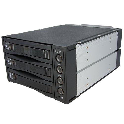 StarTech.com Hot Swap SATA/SAS Backplane RAID Bays - 3 Hard Drive Mobile Rack - 3 Drive SAS mobile Rack