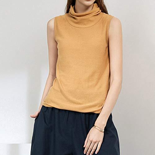 De Yellow Fino Mangas Las Cuello M Fondo Suelto Algodón s Suéter Camisa Mujeres Pila Sin L Primavera Xl Y Otoño g5Hxnnqw1B