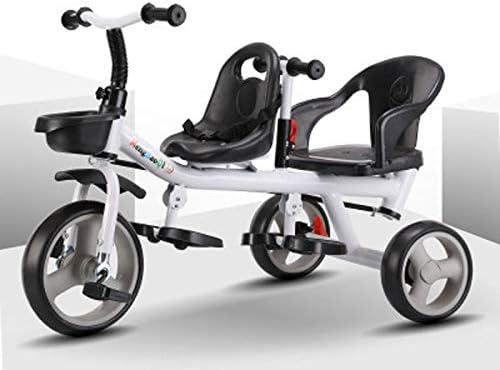 JHGK Triciclo De Dos Asientos para Niños, Triciclo para Bicicleta, Triciclo De Acero con Alto Contenido De Carbono, Tricycle para Niños De 3 A 6 Años,Blanco: Amazon.es: Hogar