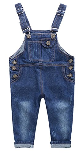 Ameyda Kids Little Girls Boys Denim Bib Overall Pants Jeans Trousers by Ameyda Kids