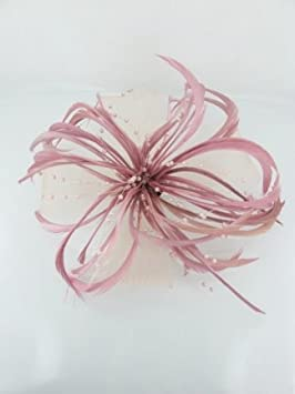 Pretty Cool - Dusky Pink Feather   Mesh Bow Fascinator  Amazon.co.uk ... 7a64286b145