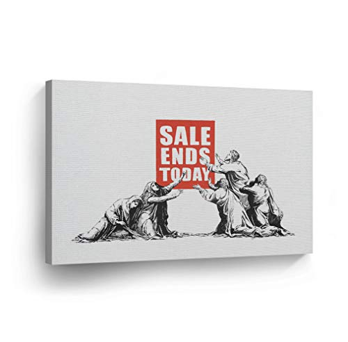 SmileArtDesign Banksy Canvas Print Sale Ends Today from London Banksy Wall Art Home Decor Decorative Artwork Stretched Ready to Hang%100 Made in The USA 8x12