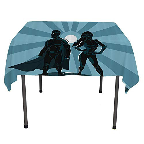 Superhero, Table ClothsMan and Woman Superheroes Costume with Masks and Capes Night Protector in Moonlight, for Kitchen Dining Party, 54x54 Inch Blue -