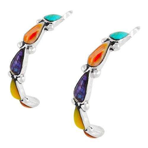 - Sterling Silver Hoop Earrings in Genuine Turquoise & Genuine Gemstones (Multi)