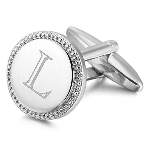 [INBLUE Men's 2 PCS Rhodium Plated Cufflinks Silver Tone Initial Letter L Shirt Wedding Business 1 Pair] (Letter L Costumes)
