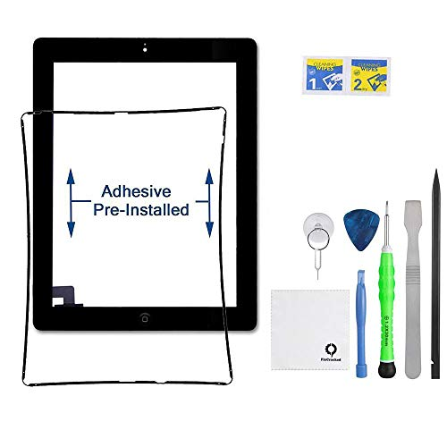 iPad 2 Screen Replacement,FixCracked iPad 2 Digitizer Touch Screen Front Glass Assembly Black-Includes Home Button + Camera Holder + PreInstalled Adhesive with tools kit (Broken Ipad Screen)