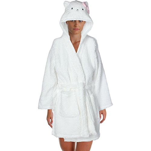 Hello Kitty Womens Juniors Bow City Plush Hooded Short Robe White L (Womens Hello Kitty Bathrobe)