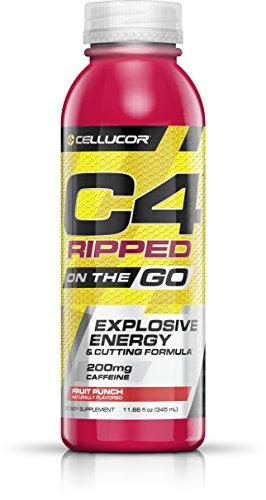 Cellucor C4 Ripped Pre Workout Fat Burner Energy Drink, Fat Burners for Men & Women, Fruit Punch, 12 Bottles