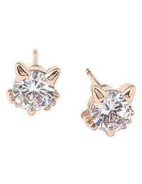 Acefeel Kitten Animal Austrian Crystals Mini Cute Lovely Cat Stud Earrings Girls Favorite Gift E102