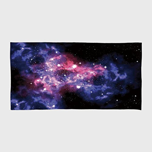 Cotton Microfiber Hotel SPA Beach Pool Bath Hand Towel,Space Decorations,Dusty Gas Cloud Nebula and Star Clusters in the Outer Space Cosmos Solar Deco Print,Navy Purple,for Kids, Teens, and Adults by iPrint