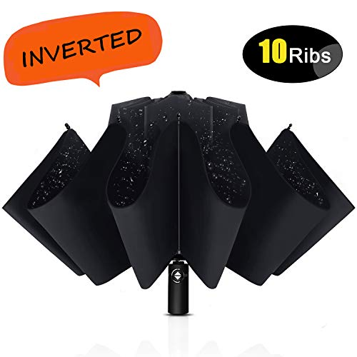 Bodyguard Inverted Windproof Umbrella with Teflon Coating, 10 Ribs Auto Open and Close Travel Umbrella, Portable Reverse Umbrellas with Leather - X-large Cover Umbrella