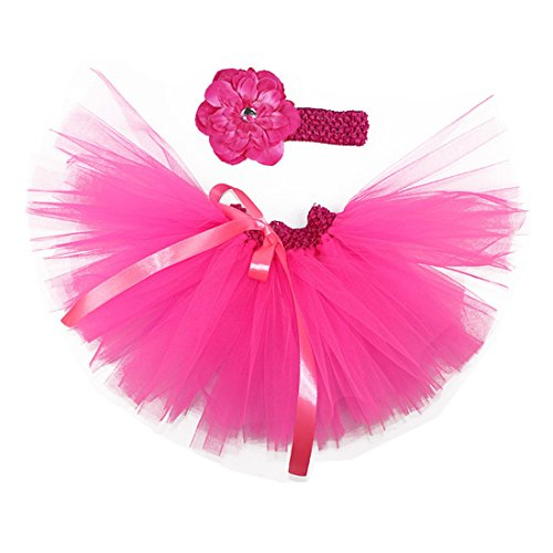 MizHome Newborn Baby Girls Birthday Layered Tulle Tutu Skirt Flower Peony Headwear Outfits, Rose Red2, One Size