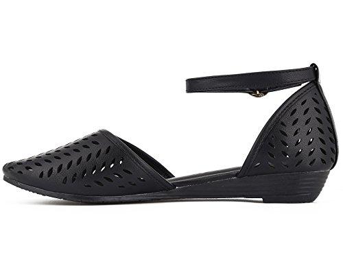 Max Muxun Womens Shoes Cut Out Cage Ankle Strap Flat Sandals Black lKsHzsoj