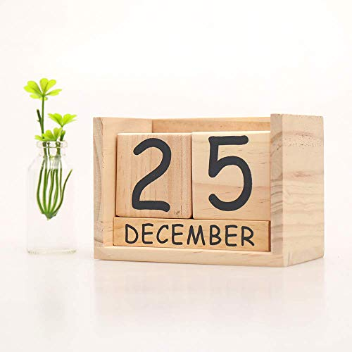 KL Wooden Perpetual Year Table Desk Calendar Wood Block Office Desktop Decoration