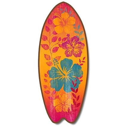 Nueva tabla de surf placa señal de flores hawaianas hibisco playa Coastal Decor