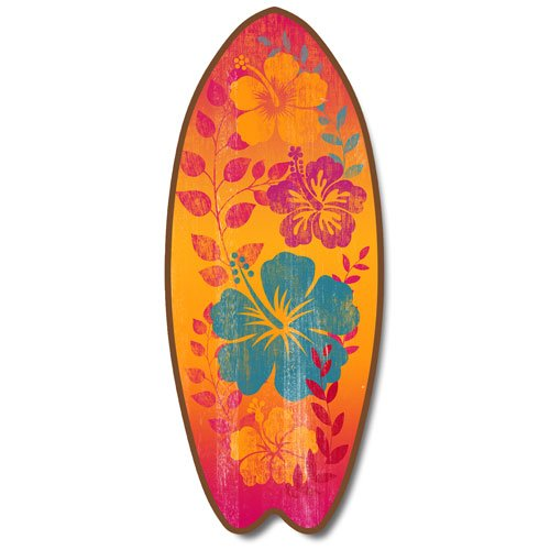 New Surfboard Plaque Hawaiian Hibiscus Flower Blossoms Sign