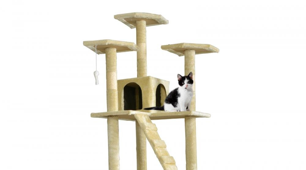 New Beige Cat Tree Scratcher Play House Condo Furniture Toy Bed Post Pet House