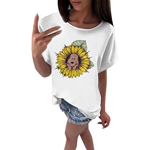 (Tantisy ♣↭♣ Women's Sunflower Print Summer Short Sleeve Soft Comfortable T Shirt Tops and Funny Dog White)