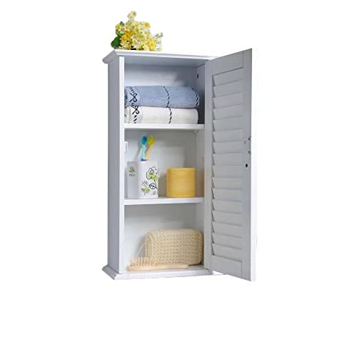 Homecharm Intl 13.8x5.9x21.6 Inch Wall Storage Cabinet,Louvered Door ,White(HC 057)