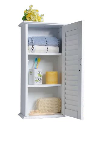 Homecharm Intl 13.8x5.9x21.6 Inch Wall Storage Cabinet,Louvered Door